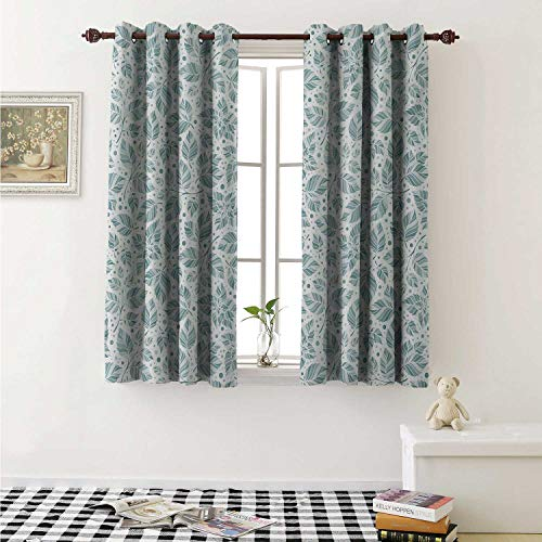 (shenglv Leaves Drapes for Living Room Peppermint Foliage Pattern on a Dotted Background Blossoming Nature Curtains Kitchen Window W96 x L72 Inch Slate Blue and Bluegrey)