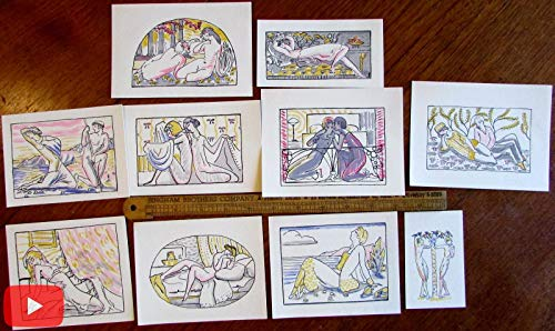 Erotica Art Deco 1921 beautiful pochoir prints lot x 10 nudes love
