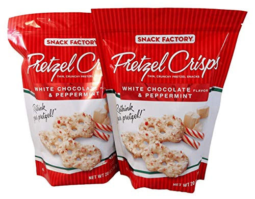 (Snack Factory Pretzel Crisps White Chocolate Flavor and Peppermint 20 Oz (Pack of 2 Large 20 Ounce Bags))