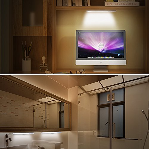JSVER Wireless LED Touch Light USB Rechargeable with Magnetic Strip for Cupboard Step Wardrobe, White by JSVER (Image #5)
