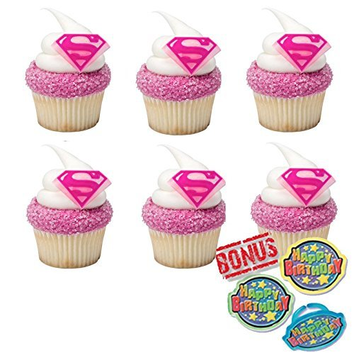 Supergirl Shield Cupcake Toppers and Bonus Birthday Ring