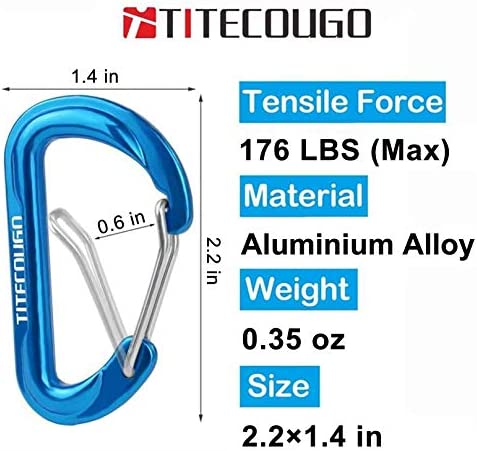 TITECOUGO Small Aluminum Carabiner Keyring