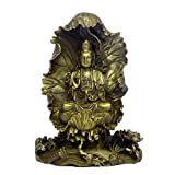 Chinese Lotus Leaf Goddess of Mercy Copper Statue GuanYin Collectible Figure Sculpture-A Pair (guanyin2)