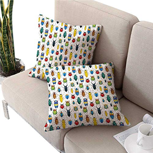 warmfamily Watercolorikea Pillow coversColorful Insects with Brush Strokes Effect Various Kinds of Bugs Illustrationfloral Pillow Covers 24
