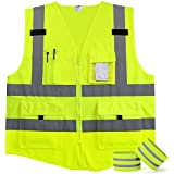 Fnova 4 Pockets Class 2 High Visibility Zipper Front Safety Vest With Reflective Strips, 2 Bonus Reflective Bands Included, Neon Yellow Meets ANSI/ISEA Standards