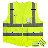 Fnova 4 Pockets Class 2 High Visibility Zipper Front Safety Vest Reflective Running Vest, 2 Bonus Reflective Bands Included, Neon Yellow Meets ANSI/ISEA Standards(Medium)
