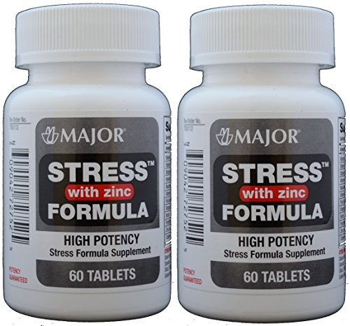 Stress Tab with Zinc High Potency Stress Formula with B-Vitamins, C+E, plus Antioxidants and Zinc For Immune Support 60 Tablets per Bottle Pack of 2 Total 120 Tablets (High Potency Stress Vitamins Formula)