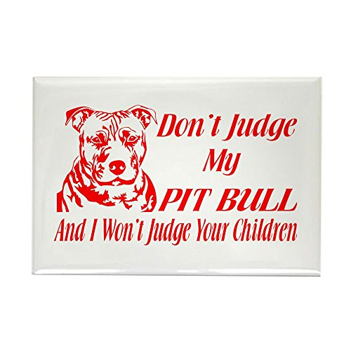 CafePress DONT JUDGE MY PIT BULL Rectangle Magnet, 2
