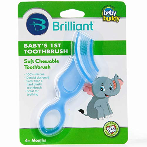 Brilliant Baby's 1st Toothbrush Teether - Premium Silicone First Toothbrush for Babies and Toddlers - Kids Love Them, Blue, 1 Count