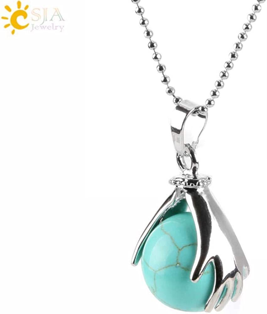 MSSZH Collar Collar con Colgante De Cristal De Piedra Natural De Palma Cuentas De Piedras Semipreciosas No Porosas