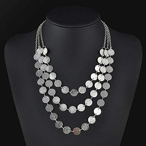 - Hebel Fashion Charm Jewelry Matte wafers Chain Pendant Choker Chunky Bib Necklace | Model NCKLCS - 33623 |