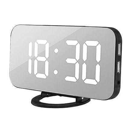SALLYDREAM LED Despertador Digital con Puerto USB para El Cargador del Teléfono Snooze Activado por Contacto (Blanco)