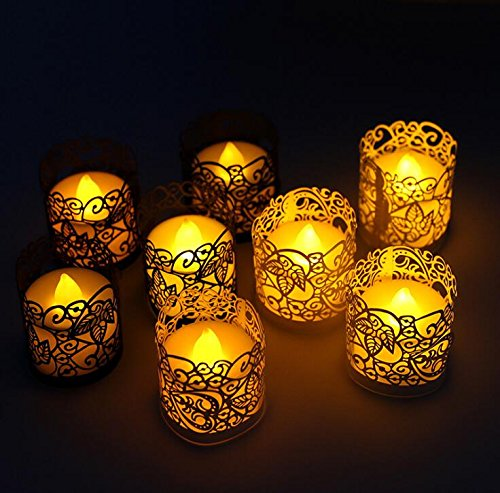 - CozyT 50 PACK Gold Tea Light Votive Wraps Paper Candle Holder Laser Cut For Decorative Wedding Party