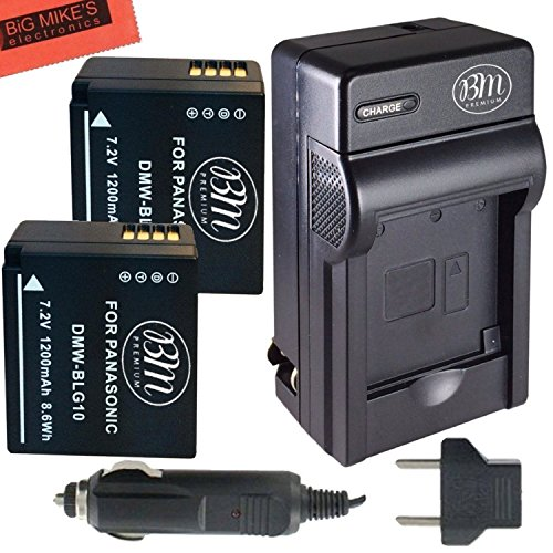 BM Premium 2-Pack of DMW-BLG10 Batteries and Battery Charger for Panasonic Lumix DC-ZS200, DC-ZS70, DMC-GX80, DMC-GX85, DMC-ZS60, DMC-ZS100, DMC-GF6, DMC-GX7K, DMC-LX100K Digital Camera by BM Premium