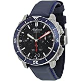 Alpina Seastrong Diver 300 Big Date Chronograph Black Dial Navy Leather Mens Watch AL-372LBN4V6