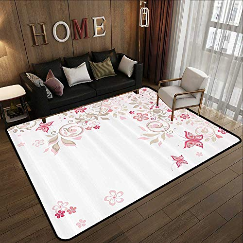 Rugs,Floral,Curly Branches Wildflowers Butterflies Dots Romantic Bridal Wedding Theme,Pink Cocoa Light Pink 78.7