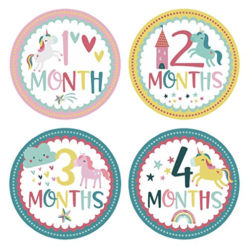 Newborn Baby Girl Unicorn Monthly Stickers Onesie Labels for Baby's First Year, Milestones, Holidays, Scrapbook Photo Keepsake, Baby Shower & Registry Gift (28-Pack) + Two Bow Headbands (Superhero Baby Clothes Uk)