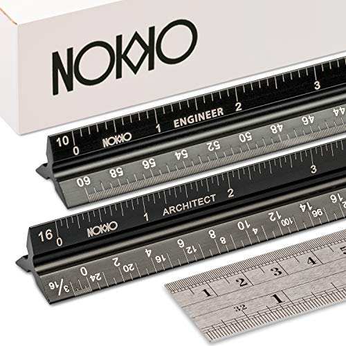 NOKKO 12 Inch Architectural and Engineering Scale Ruler Set - Standard Imperial and Metric Metal Conversion Ruler Included - Professional Measuring Tools for Drafting Blueprints and Civil Engineering