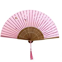 ROSENICE Handheld Folding Fan Hand Fans for Wedding Folding Hand Fans Butterfly Sakura Pattern Pink
