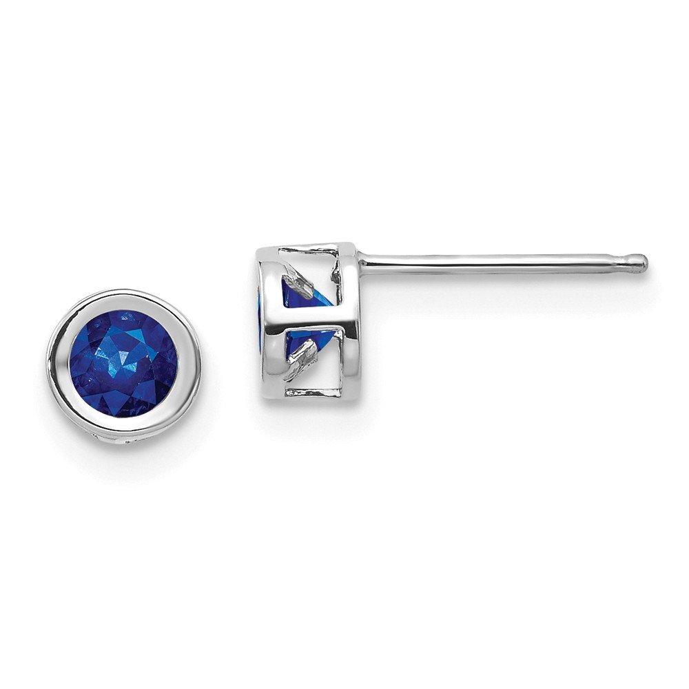 Mia Diamonds 14k White Gold 4mm September Sapphire Earrings