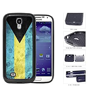 Bahamas Flag Black Triangle with Aquamarine and Yellow Horizontal Bands Grunge 2-Piece High Impact Dual Layer Black Silicone Cell Phone Case iPhone 4 4s
