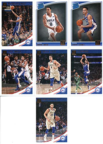2018-19 Donruss Basketball Philadelphia 76ers Team Set of 7 Cards: (Rookies included) Ben Simmons(#59), Markelle Fultz(#69), JJ Redick(#79), Dario Saric(#89), Joel Embiid(#99), Zhaire Smith(#154), Landry Shamet(#158)