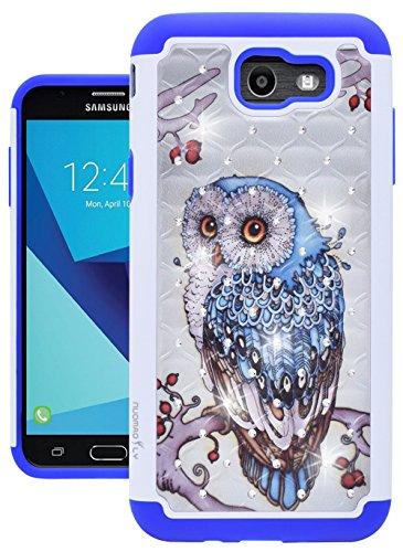 For Samsung Galaxy J7 V / J7 2017 / J7 Prime / J7 Perx / J7 Sky Pro / Galaxy Halo Case, Nuomaofly [Creative] Studded Rhinestone Crystal Bling Hybrid Armor Protective Case Cover (Owl) (Owl Phone Case For Samsung Galaxy)