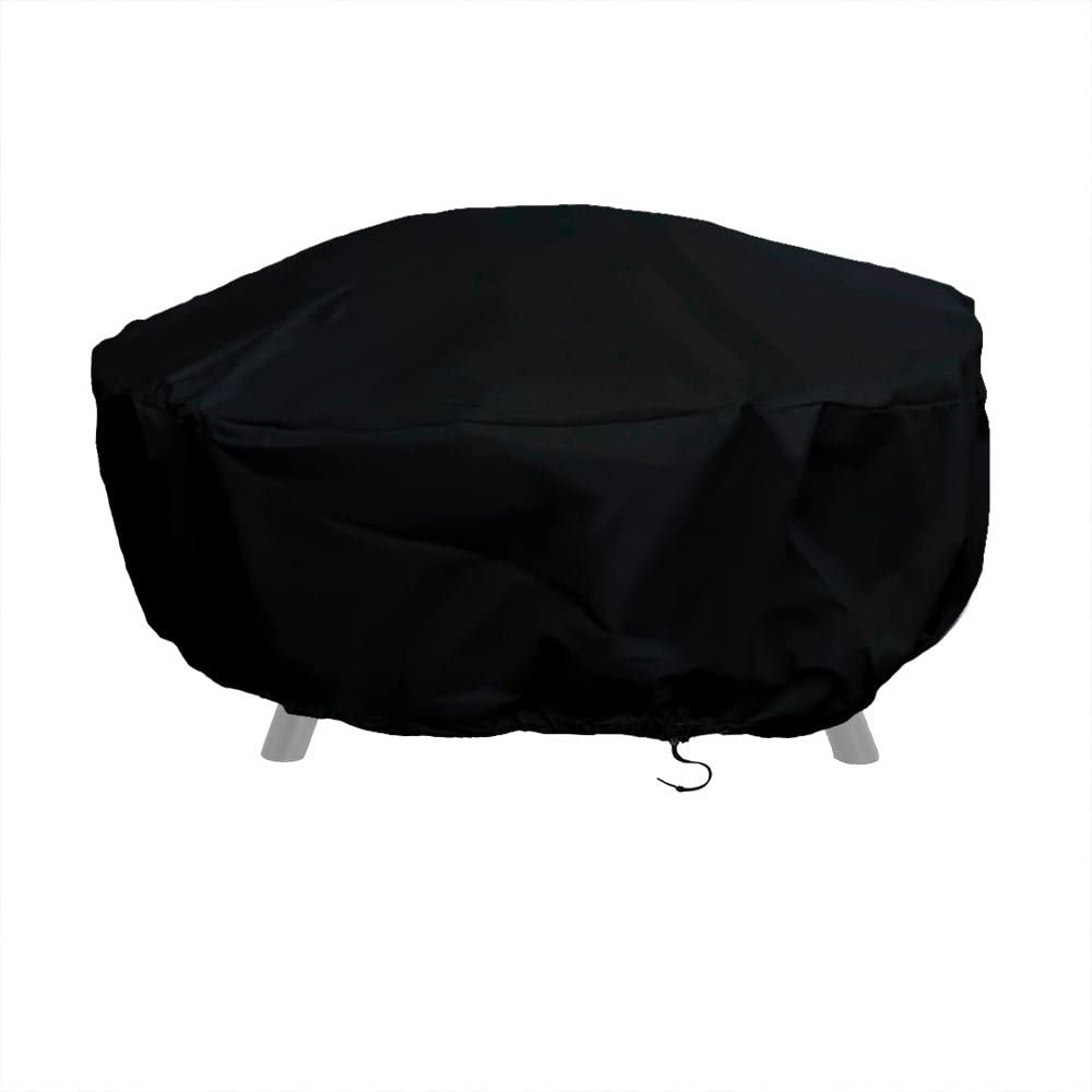 Sunnydaze Outdoor Round Fire Pit Cover with Drawstring and Toggle Closure - Heavy Duty Weather-Resistant Black 300D Polyester and PVC - 48 Inch Diameter Protective Fire Pit Accessory