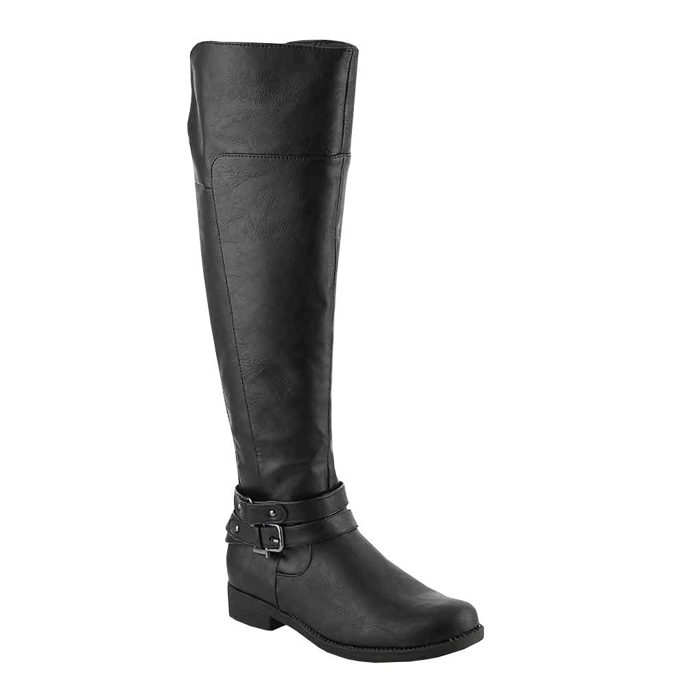 Ermonn Womens Knee High Riding Boots Wide Calf Buckle Strap Chunky Low Heel Leather Boots