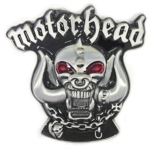 Motorhead Belt Buckle, Pewter Finish, Black and Red Enamel Fill