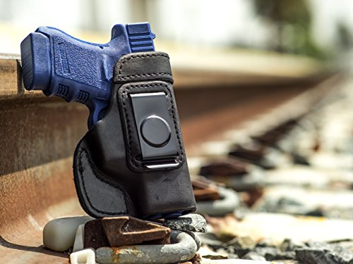 OutBags USA LS2G30 (BLACK-RIGHT) Full Grain Heavy Leather IWB Conceal Carry Gun Holster for Glock 29 G29 10mm/Glock 30 G30 G30S G30SF .45ACP. Handcrafted in USA.