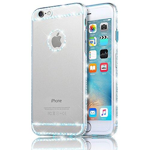 Sunroyal iPhone 5SE SE Hülle Blau Blue TPU Case Schutzhülle Silikon Rückseite Klar Clear Case Durchsichtig Bumper Zurück Bling Crystal Kirstall Diamant Strass Rhinestone Frame Rahmen