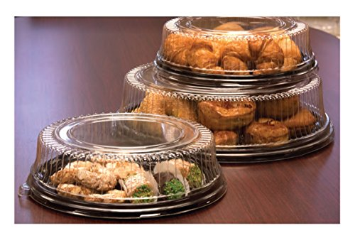 Party Essentials N716417 Soft Plastic 16-Inch Round Flat Serving/Catering Trays, Black with Clear Dome Lids, Set of 2 by Party Essentials (Image #2)