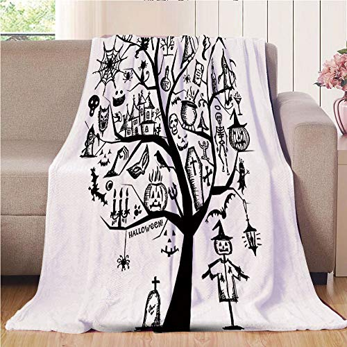 Blanket Comfort Warmth Soft Air Conditioning Easy Care Machine Wash House,Halloween Decorations,Sketchy Spooky Tree with Spooky Decor Objects and Wicked Witch Broom,Black White,47.25