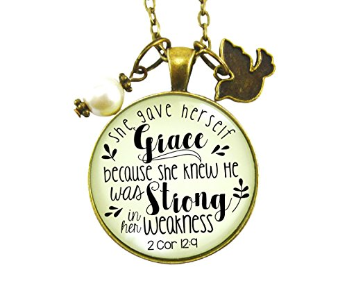 """24"""" She Gave Herself Grace Christian Necklace God Quote Vintage Style Pendant Dove Charm"""