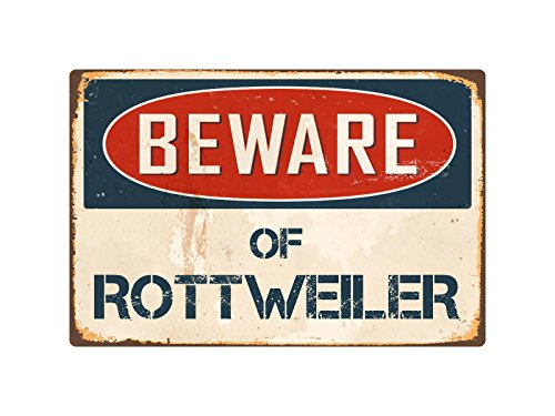 "StickerPirate Beware Of Rottweiler 8"" x 12"" Vintage Aluminum Retro Metal Sign VS362"