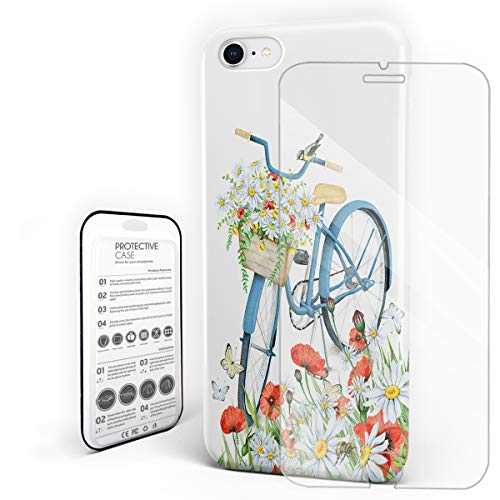 Compatible with iPhone 7 Case and iPhone 8 Case, Hard PC Back Phone Case with Tempered Glass Screen Protector Bike Flower Postcard Shockproof Protective Cover