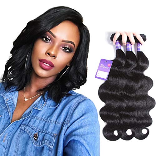 Faddishair Brazilian Virgin Hair Body Wave 3 Bundles 10 10 10 Inch Human Hair Bundles 100% Unprocessed Virgin Hair Weave Short Hair Natural Black Human Hair 300g ()