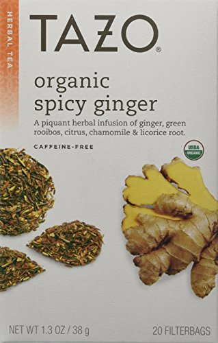 (Tazo Organic Spicy Ginger Herbal Infusion Tea, Caffeine Free, 20-Count Tea Bags (Pack of 6) )