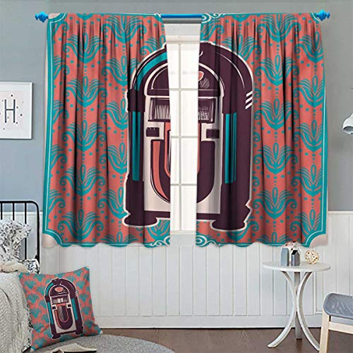 Chaneyhouse Jukebox Patterned Drape for Glass Door Floral Paisley Inspired Backdrop with Music Box Retro Party Print Waterproof Window Curtain 72