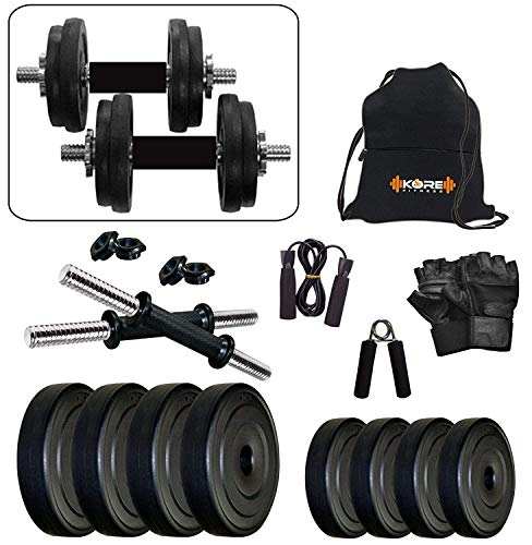 Kore PVC-DM Combo (4 Kg – 26 Kg) Home Gym and Fitness Kit with Gym Accessories