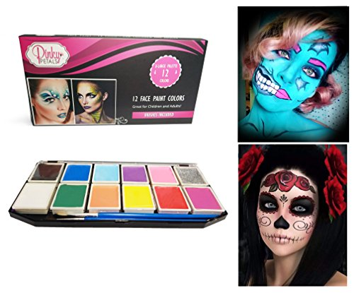 Halloween Professional Makeup (Face Paint Kit for Kids and Adults - 12 Colors XL Set 1 Glitter 1 UV Glow Color (1 Glitter))