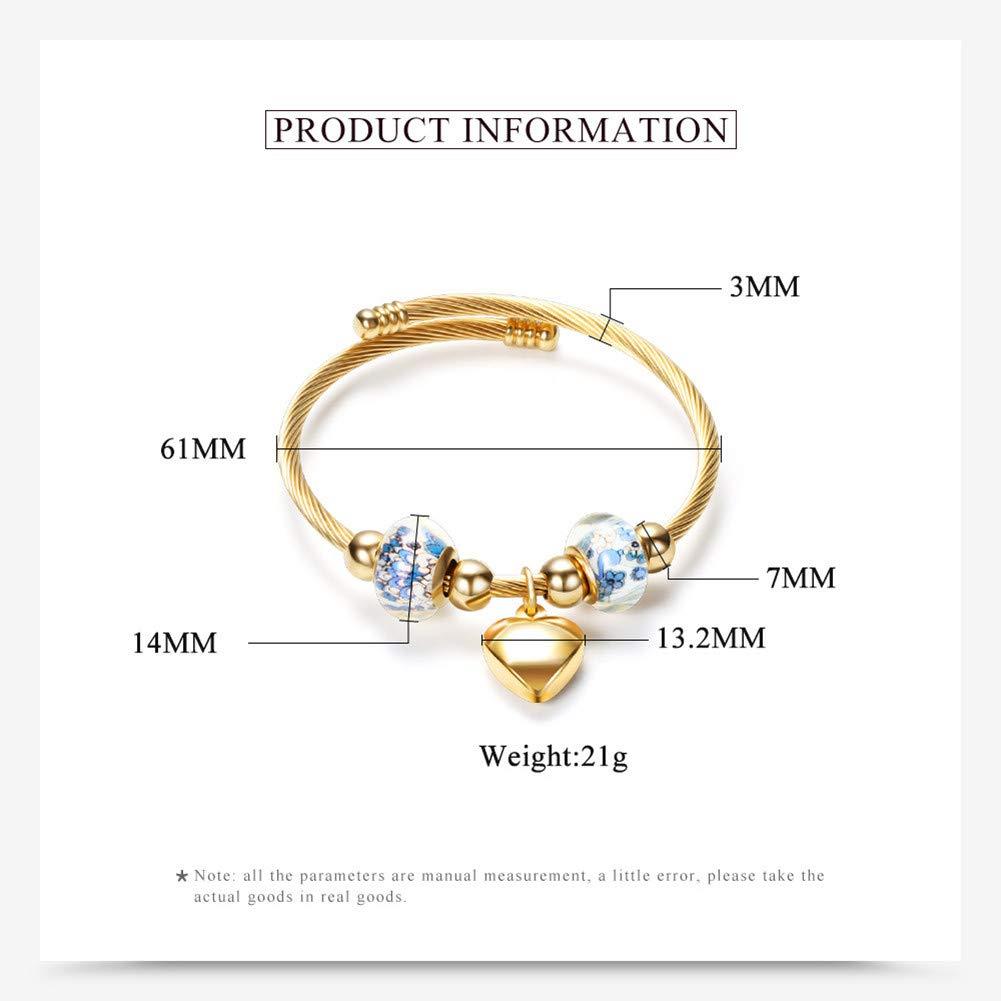 Hanv Womens Bracelet Glazed Beads Bracelet Love Pendant Bracelet