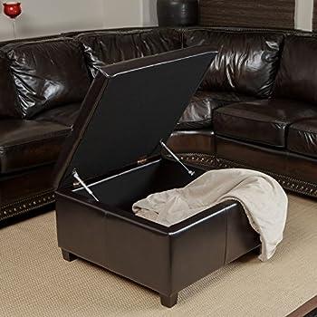 Amazon Com Isabella Bonded Leather Storage Ottoman
