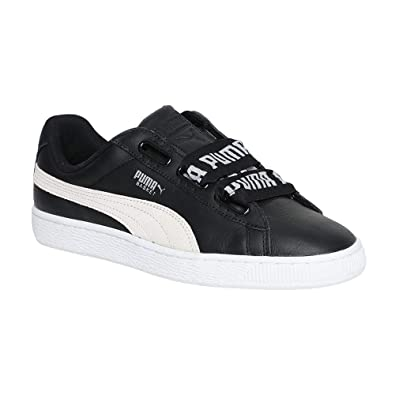 fe69dfffaf74af Puma Women s Basket Heart De Wn SWomen Black White Leather Sneakers-8  UK India (42 EU) (36408201)  Buy Online at Low Prices in India - Amazon.in