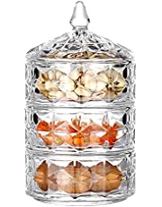 Glass Candy Sweet Jar with Lid,Crystal Glass Storage Jars,Bon Jar Covered, Cookie Dish Buffet Storage Container for Bathroom/Dressing Table/Wedding Decor/Present Gifts