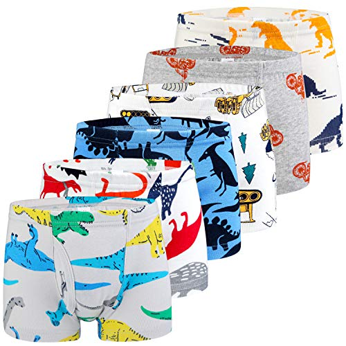(Auranso Toddler Little Boys Cotton Boxer Briefs Underwear Dinosaur Car 5/6 Pack 2-11Y )