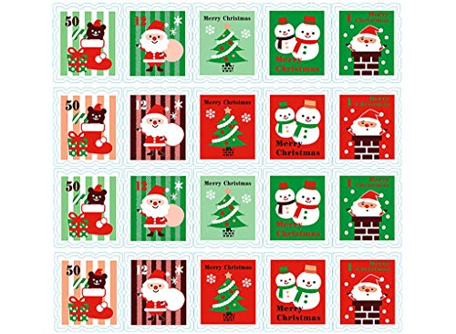 ALIMITOPIA Christmas Sticker Stamp Shape Self-Adhesive DIY Sticker Xmas Santa Gift Sealing Decoration Paster Baking Packing Label Envelope Seals(10 Sheets,100pcs)
