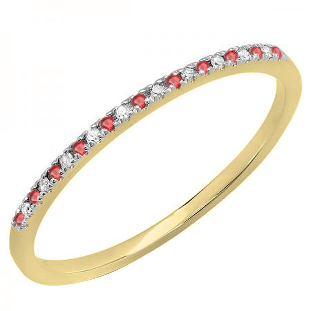 10K Yellow Gold Round Ruby & White Diamond Ladies Dainty Anniversary Stackable Band (Size 8.5)