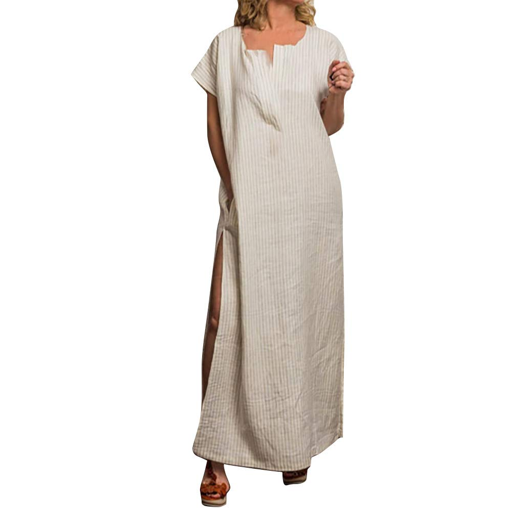 Beige Sayolala Women's Dresses Fashion ONeck Pure color Short Sleeve Loose Long Maxi Dress Sundress